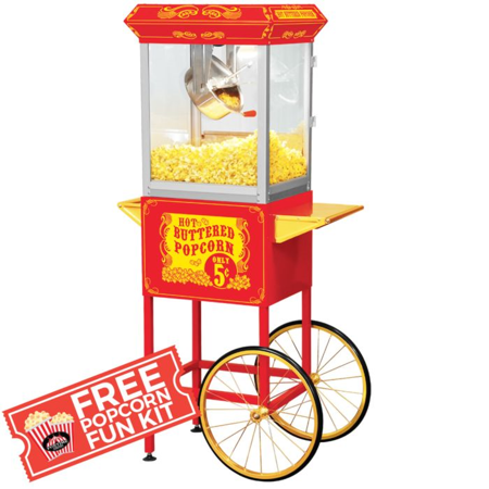 Full Size Carnival Style 8oz Popcorn Maker Machine w/cart(Red&Gold) with  Free Popcorn.