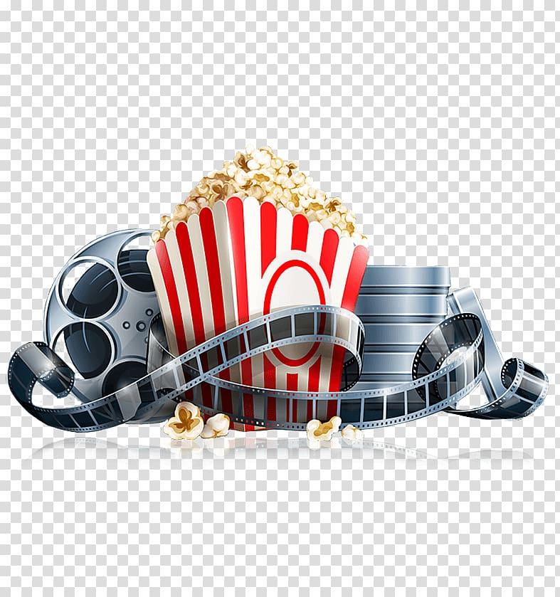 Popcorn and movie clip illustration, Popcorn Cinema Systems.
