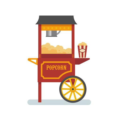 Popcorn machine flat illustration.