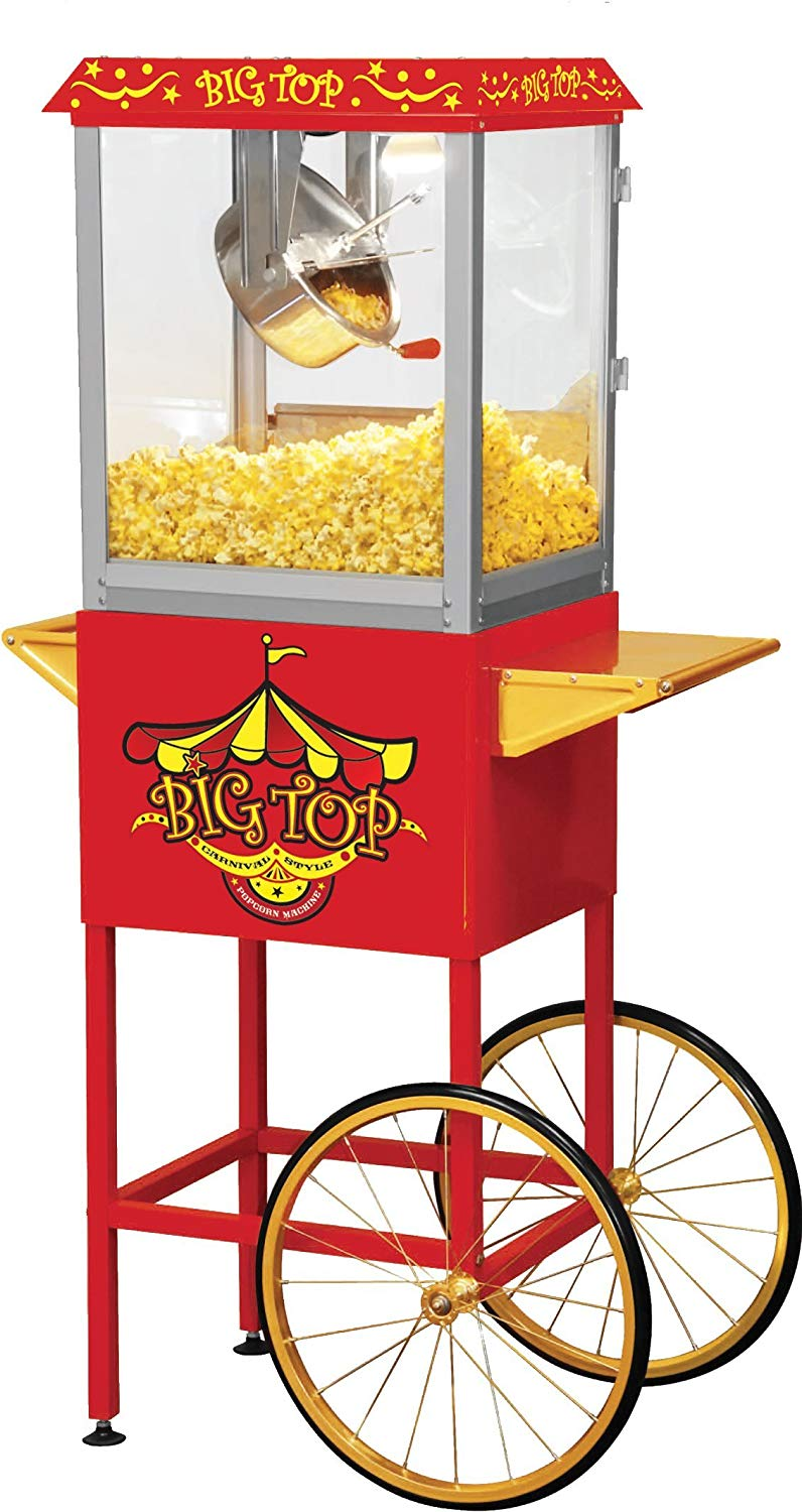 Northern Trail BW860CR Big Top Carnival Style Electric Popcorn Machine with  Cart and 8 oz Kettle, Red.