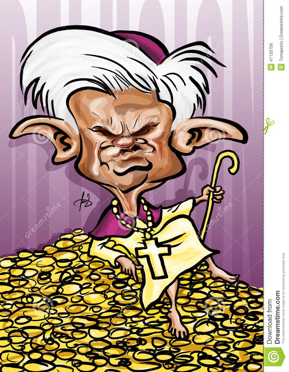 The Pope Benedict XVI Caricature Editorial Stock Photo.