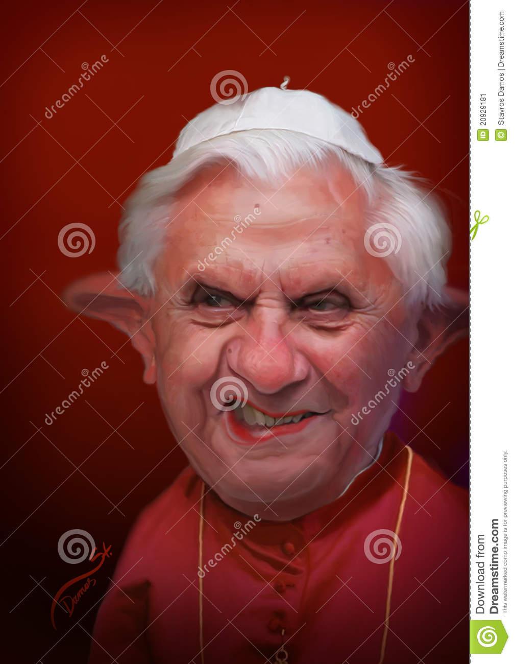Pope Benedict XVI Caricature Editorial Photo.