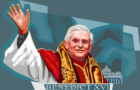 Pope Benedict XVI Royalty Free Vector Clip Art illustration.