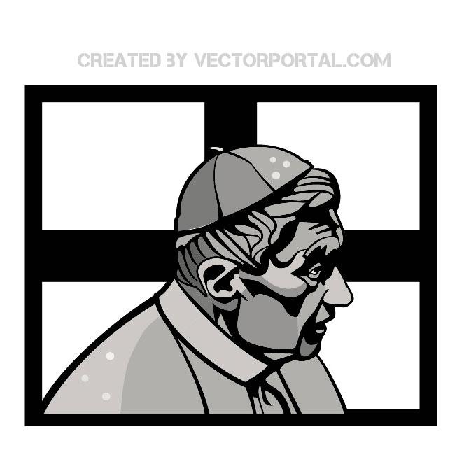Pope Benedict Xvi Portrait Free Vector.