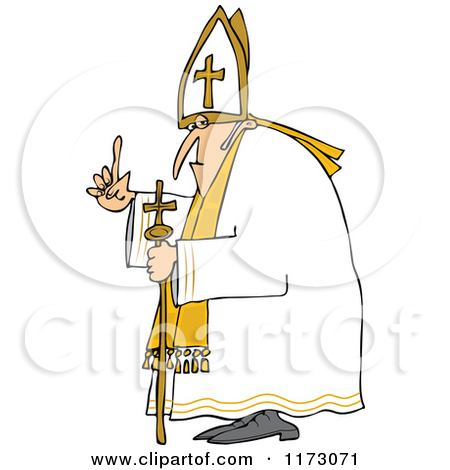 Clipart of a Pope with a Staff.