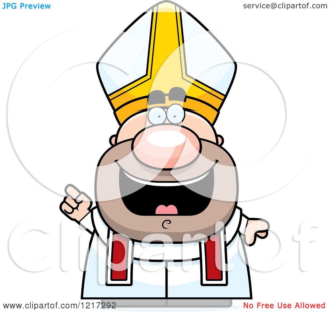 Clipart of a Happy Pope with an Idea.