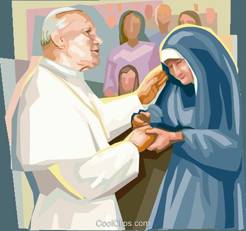 Pope John Paul II with nun Royalty Free Vector Clip Art.