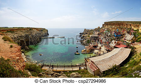 "Stock Illustration of ""Popeye village"" is a tourists attraction in."