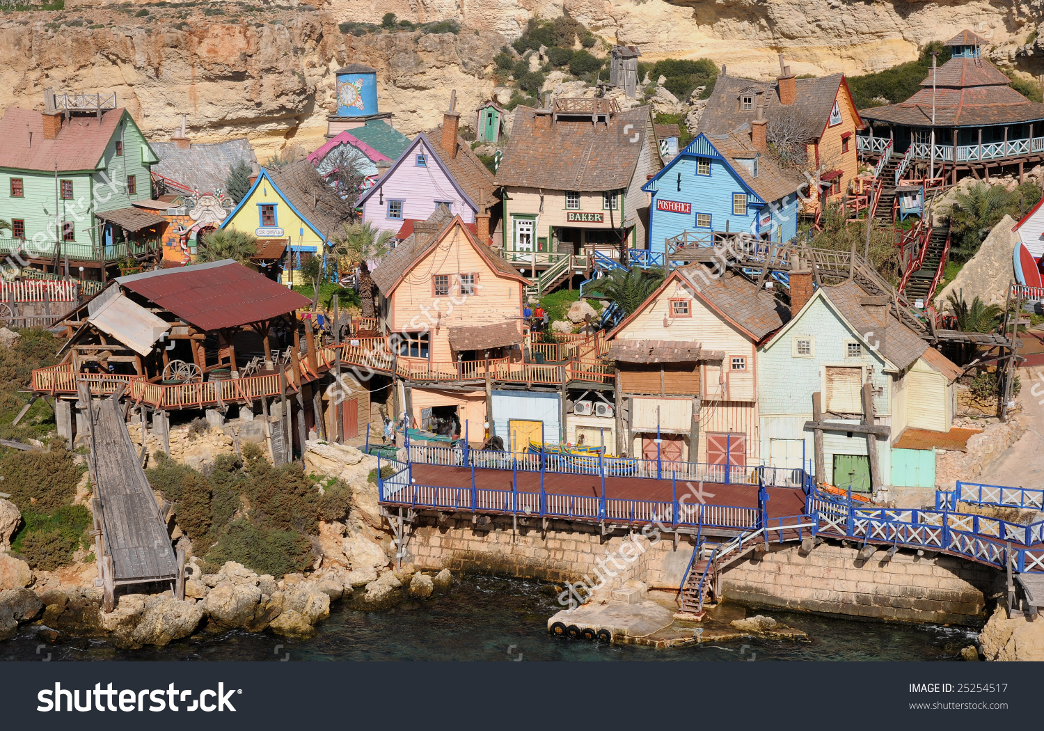 Popeye Village, Anchor Bay, Malta Stock Photo 25254517 : Shutterstock.