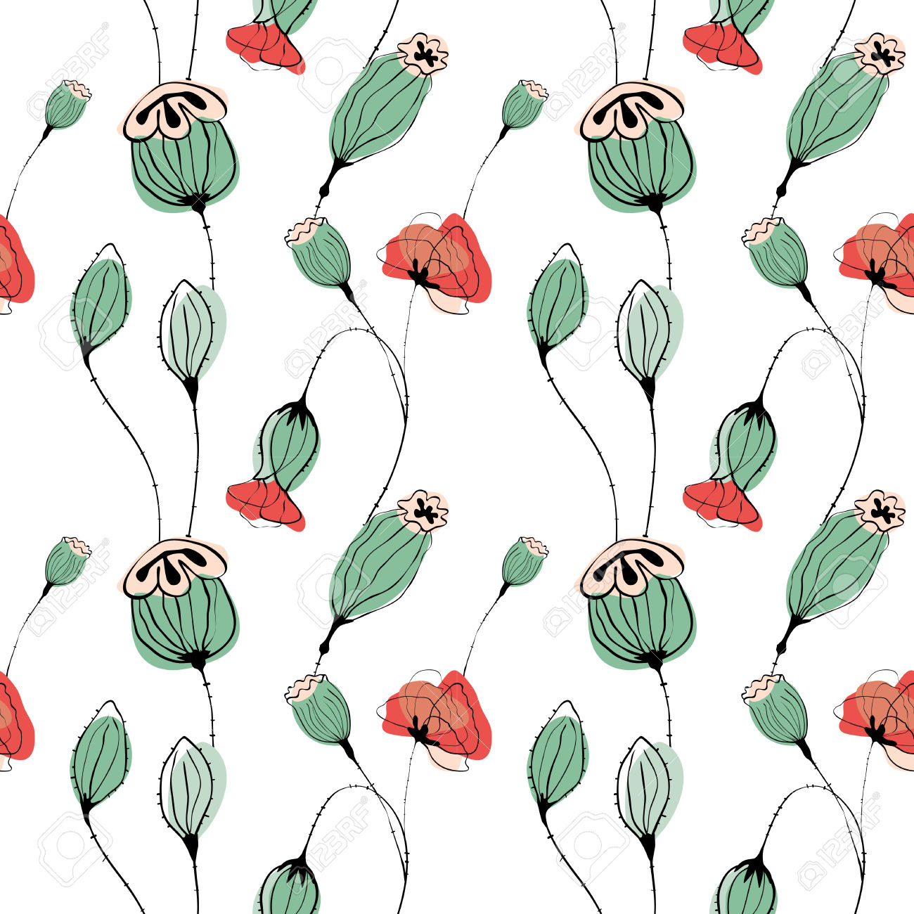 Poppy Capsule Vector Seamless Pattern In Soft Green Color Royalty.