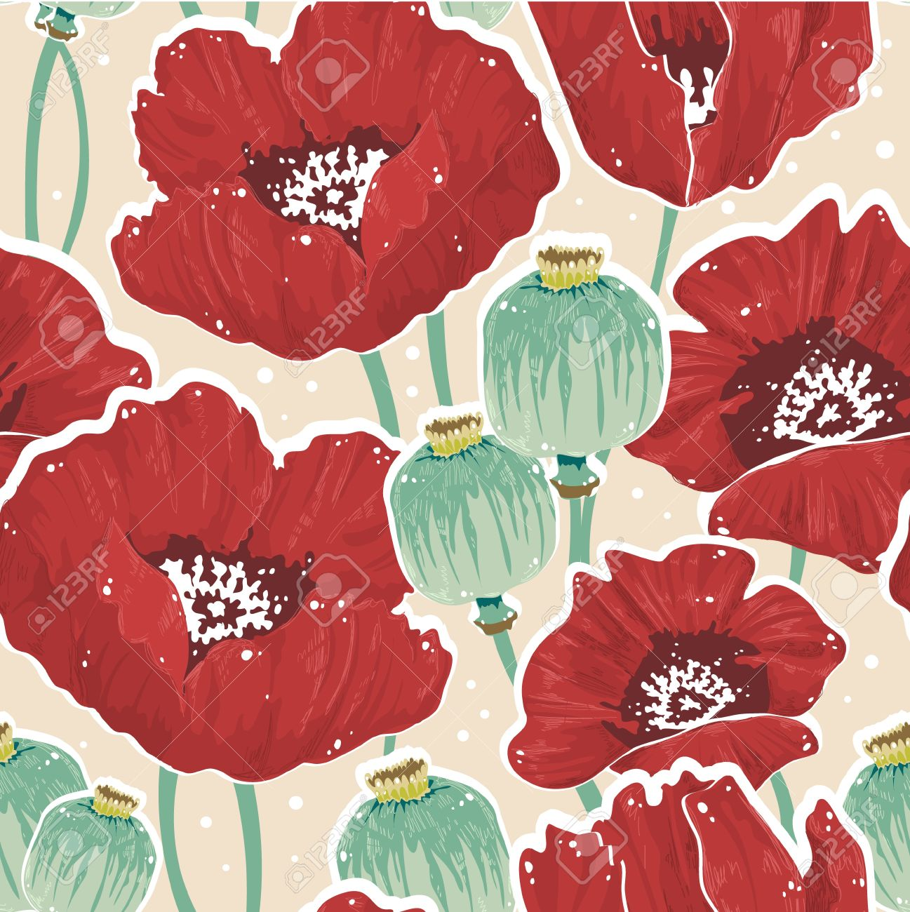 Beautiful Painting Spring Floral Seamless Pattern With Poppy.