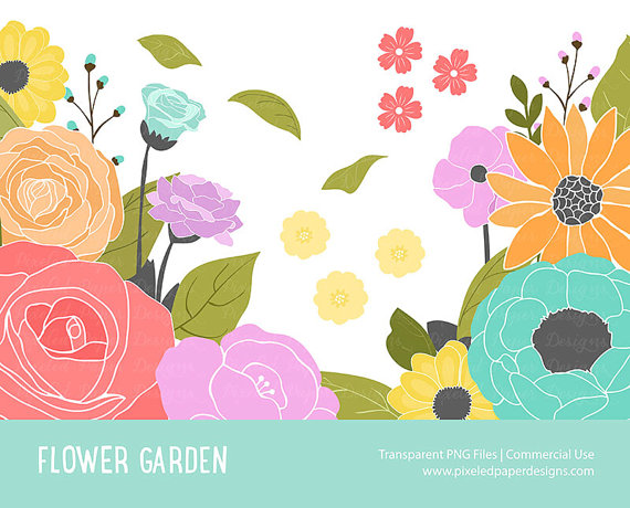 Sale 25% Off Flower Garden Digital Clip by PixeledPaperDesigns.