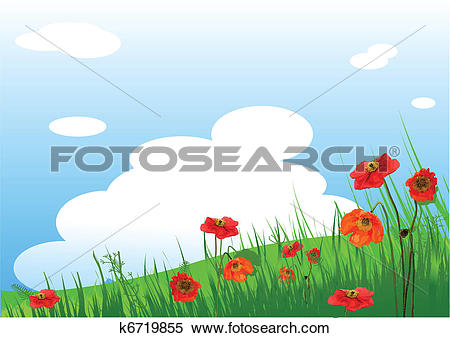 Clipart of Poppies Meadow background k6719855.