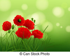 Poppies meadow background Vector Clip Art Illustrations. 296.
