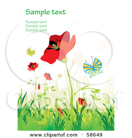 Clipart Of A Background Of Poppy Flowers.