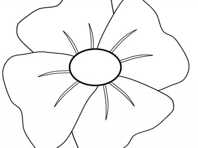 Poppy clipart colour outline, Poppy colour outline.