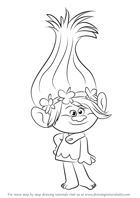 Learn How to Draw Princess Poppy from Trolls (Trolls) Step.