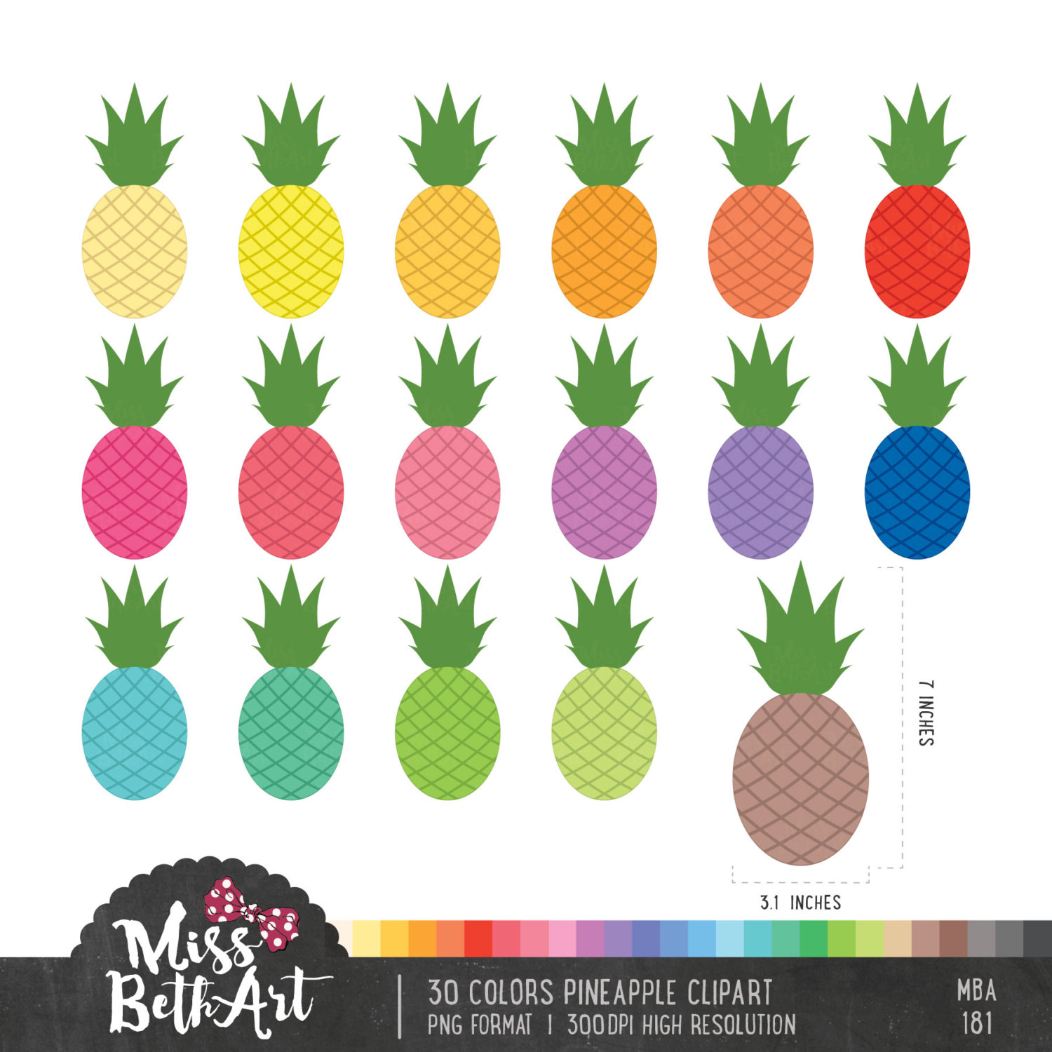 30 Colors Pineapple Clipart.