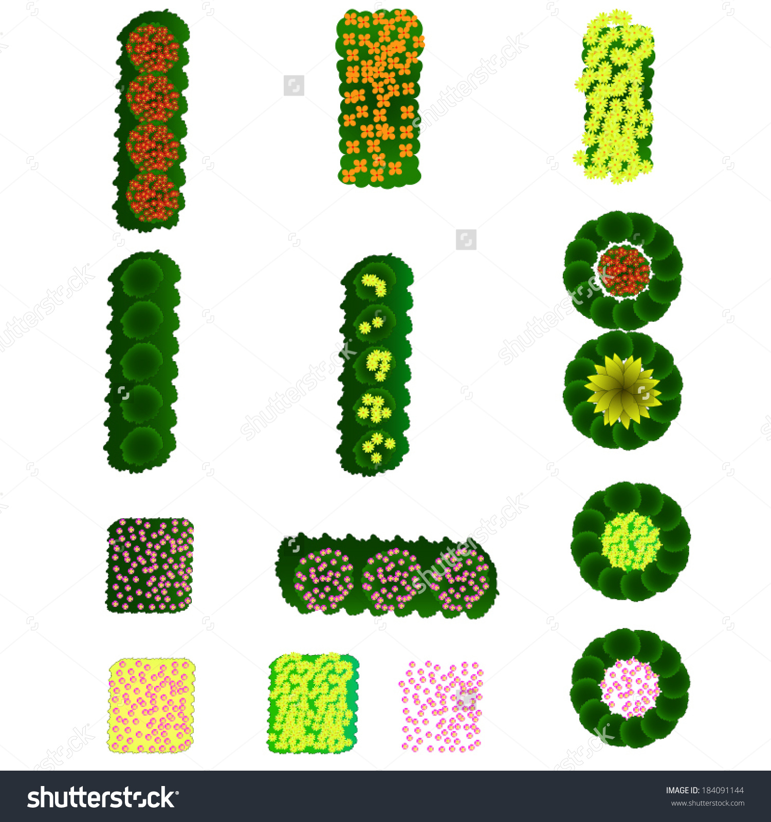 Interesting Trees Plant Flower Grass Item Top Stock Vector With Tree Plan View