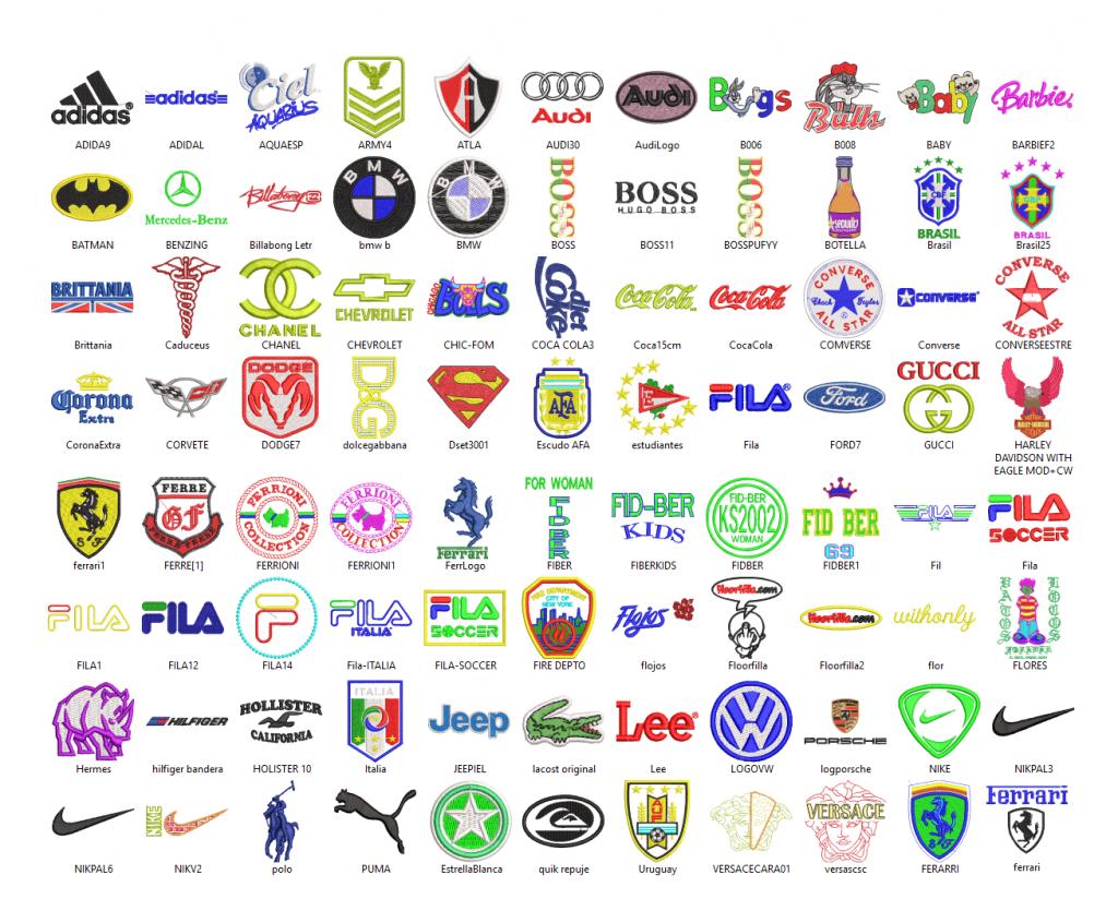 2200 Popular Logos Embroidery Designs .hus .pes .vip .jef.