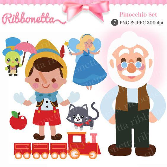 Pinocchio story Fairy tale Cute Kawaii Clipart Card por Ribbonetta.