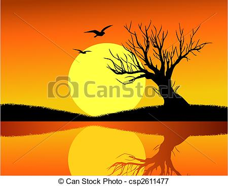 Vectors Illustration of Tree and sunset csp2611477.