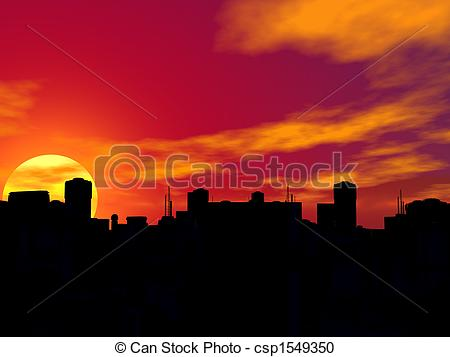 Stock Illustration of Silhouette of a city in sunset. csp1549350.