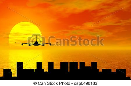 Drawings of sunset with airplane and city silhouette csp0498183.