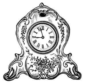 vintage clock clipart, black and white clip art, decorated.