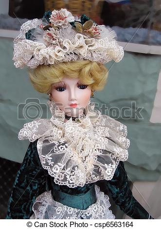 Stock Photo of Vintage Victorian Porcelain Doll.