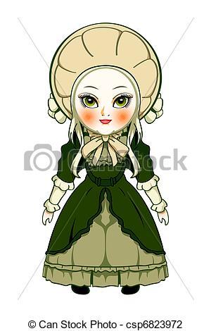 Vector Illustration of Victorian doll.