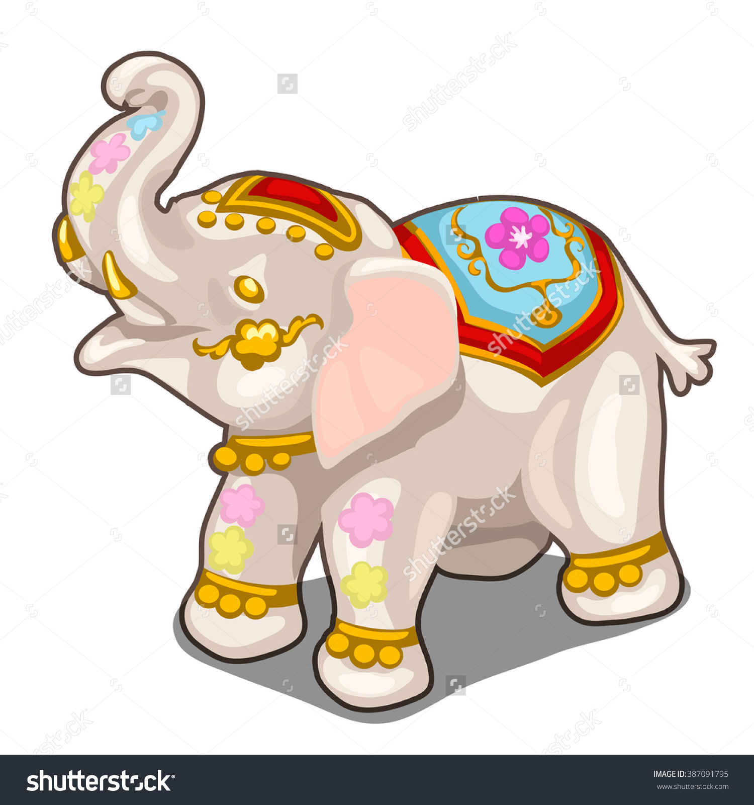 Porcelain Figurine In The Form Of An Indian Elephant. Vector.