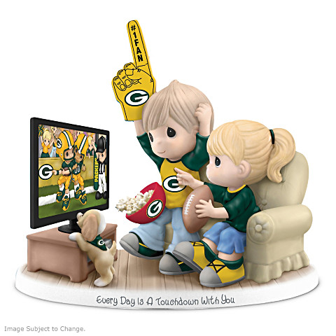 Precious Moments Green Bay Packers Fan Porcelain Figurine.