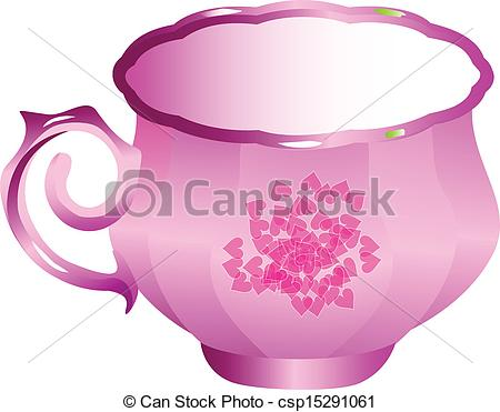 Clip Art Vector of Rose porcelain tea cup vector csp15291061.