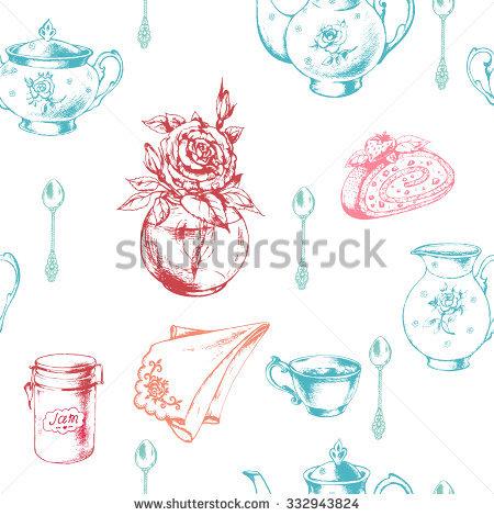 Seamless Breakfast Pattern Porcelain Cupporcelain Teapot Stock.