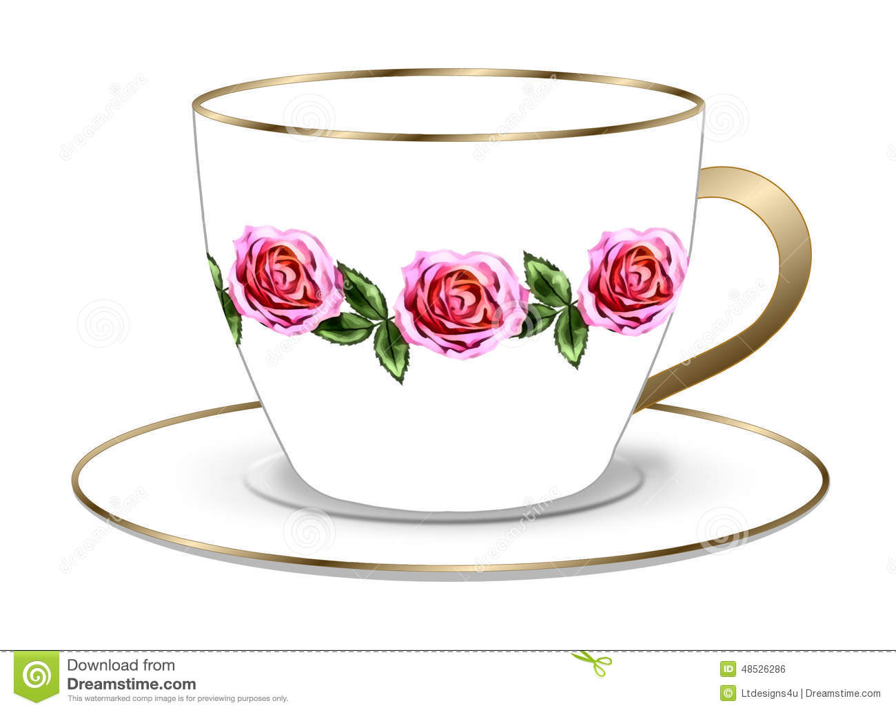Rose Tea Cup And Saucer Stock Illustration.