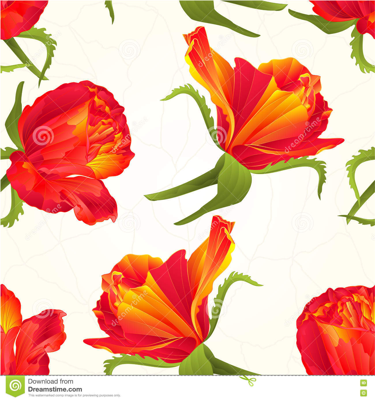 Seamless Texture Orange Roses Vintage Vector Stock Vector.