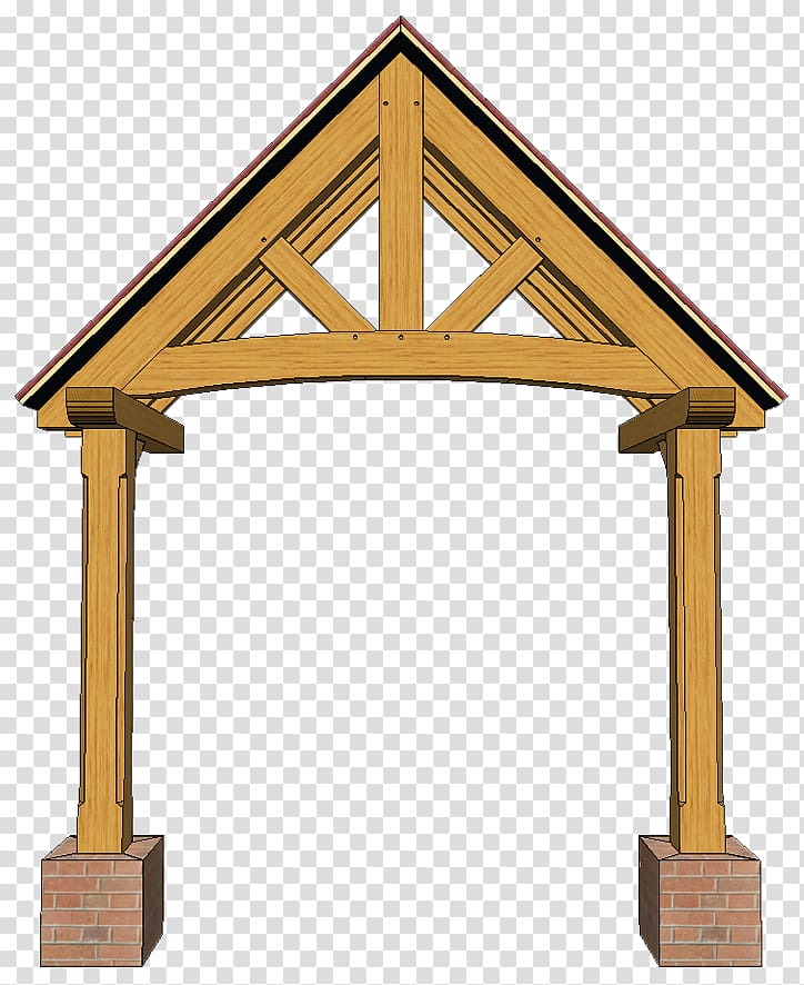 Timber roof truss King post Porch, wooden truss transparent.