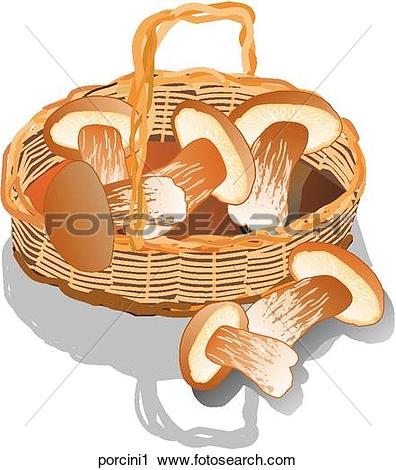 Clipart of Porcini Mushrooms.