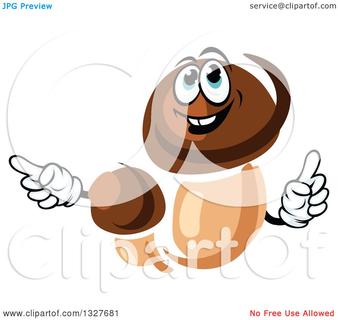 Clipart of Cartoon Porcini Mushroom Character Holding up a Finger.
