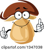 Clipart of Cartoon Face, Hands and Porcini Mushrooms.