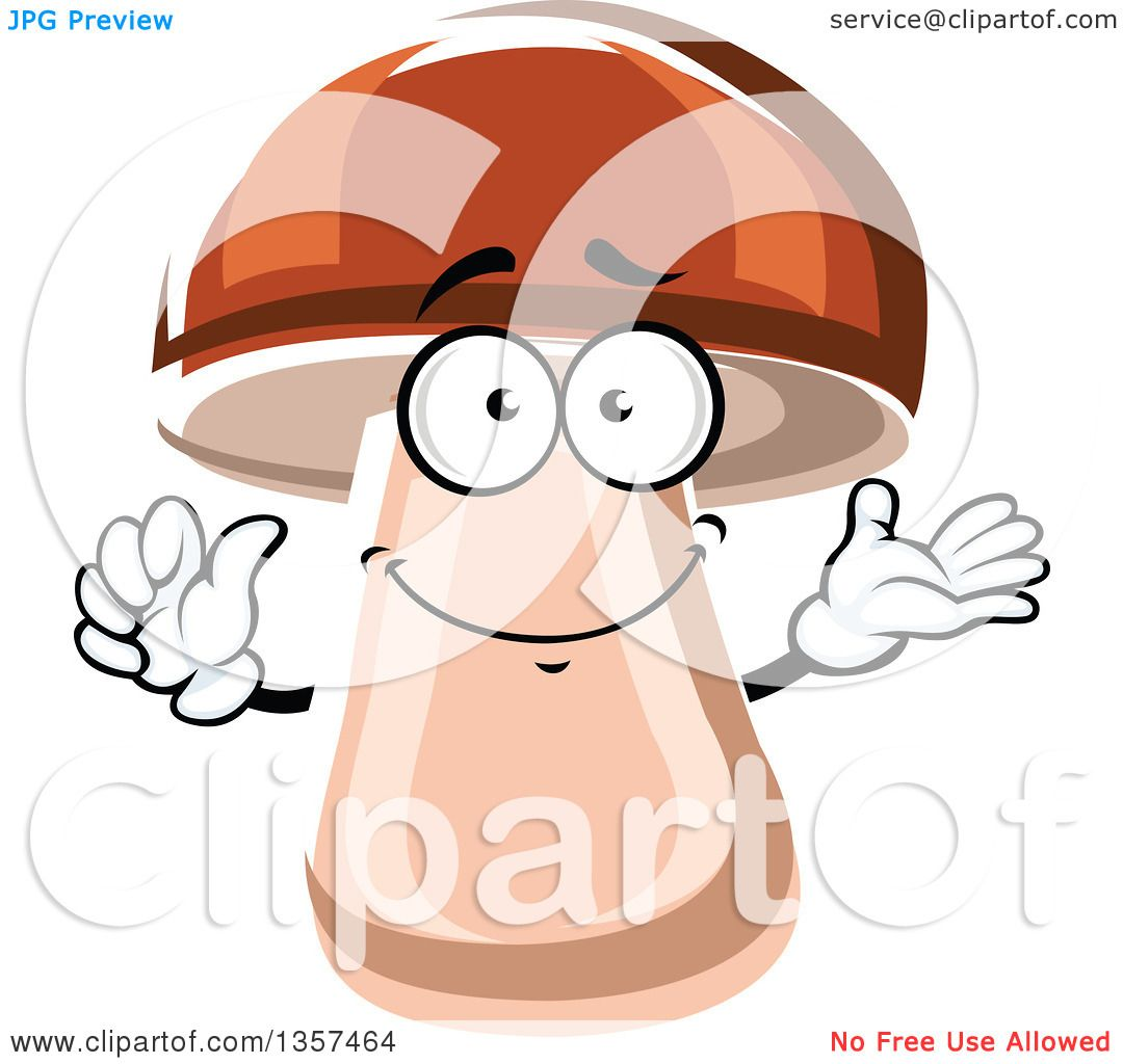 Clipart of a Cartoon Porcini Mushroom Character.