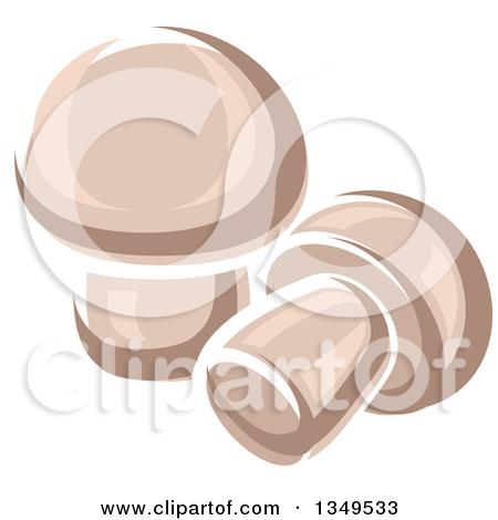Clipart of a Cartoon Porcini Mushroom.