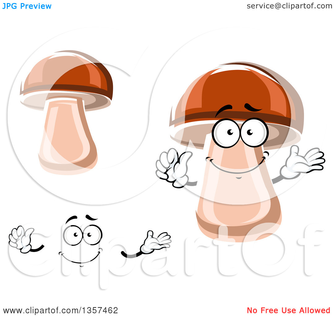Clipart of a Cartoon Face, Hands and Porcini Mushrooms.