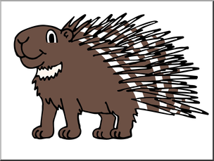 Clip Art: Cartoon Porcupine Color I abcteach.com.