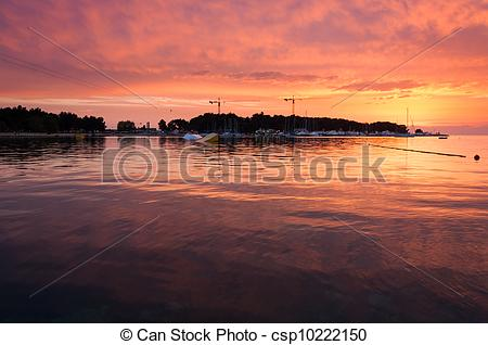 Stock Images of Sunset at Ski lift Porec, wakeboarding park in.