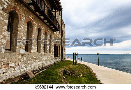 Stock Photo of Old House on the Sea Shore in Porec, Croatia.