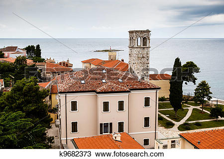 Stock Photo of Panoramic View on Monastery Tower in Porec, Croatia.