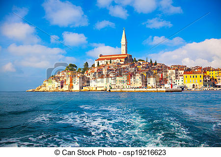 Stock Photo of old Istrian town in Porec, Croatia. csp19216623.