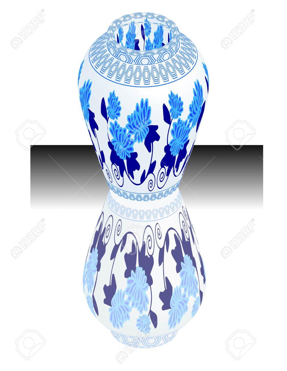 A Vector, Illustration For A China Porcelain, Pottery, Vase.